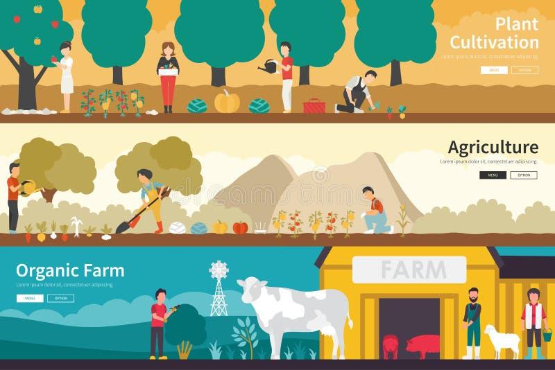 Van het de Landbouw Organisch Landbouwbedrijf van de installatiecultuur binnenlands openlucht het conceptenweb vlak vector illustratie