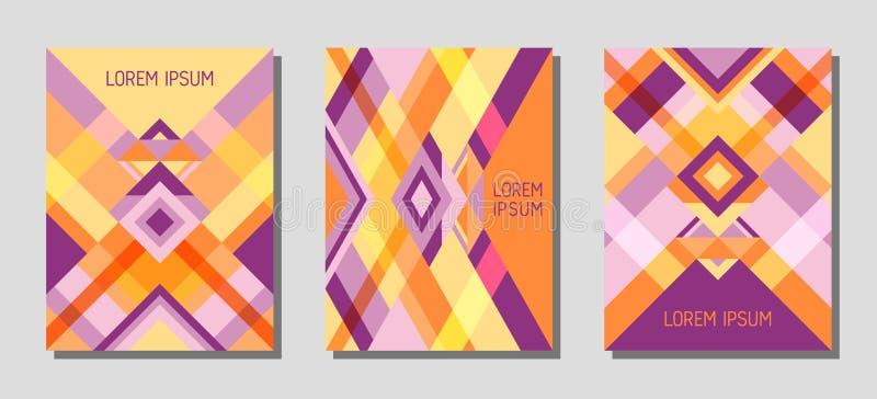 Van het de lay-out het vectormalplaatje van de dekkingspagina geometrische ontwerp met driehoeken en strepenpatroon in oranje vio stock illustratie