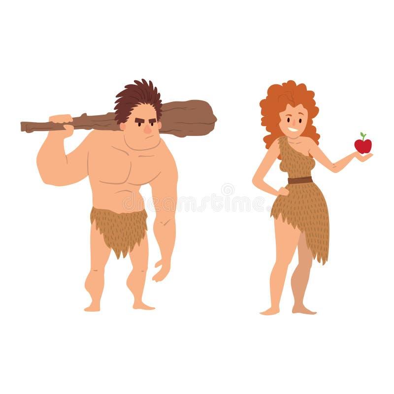 Van het de leeftijdsbeeldverhaal van de holbewoner primitieve steen van het de mensenkarakter Neanderthaler de evolutie vectorill stock illustratie