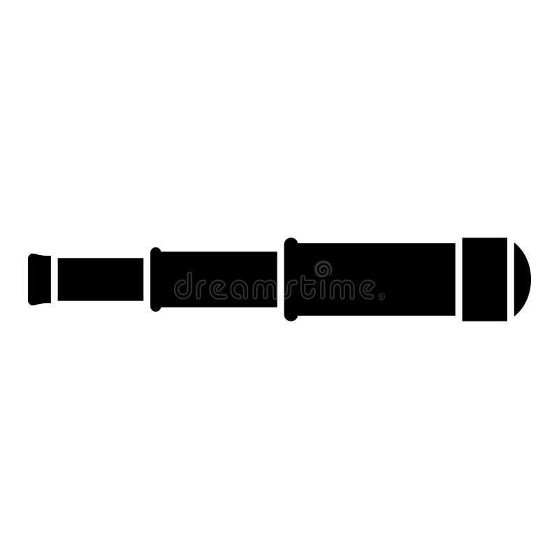 Van het de lenspictogram van de kijker Éénogig Telescoop van de de kleuren vectorillustratie zwart vlak de stijlbeeld royalty-vrije illustratie