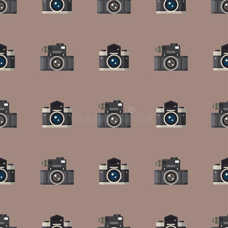Van het de lenzen naadloze patroon van de camerafoto kijkt de optische beroeps van het de fotografiemateriaal objectieve retro ve vector illustratie
