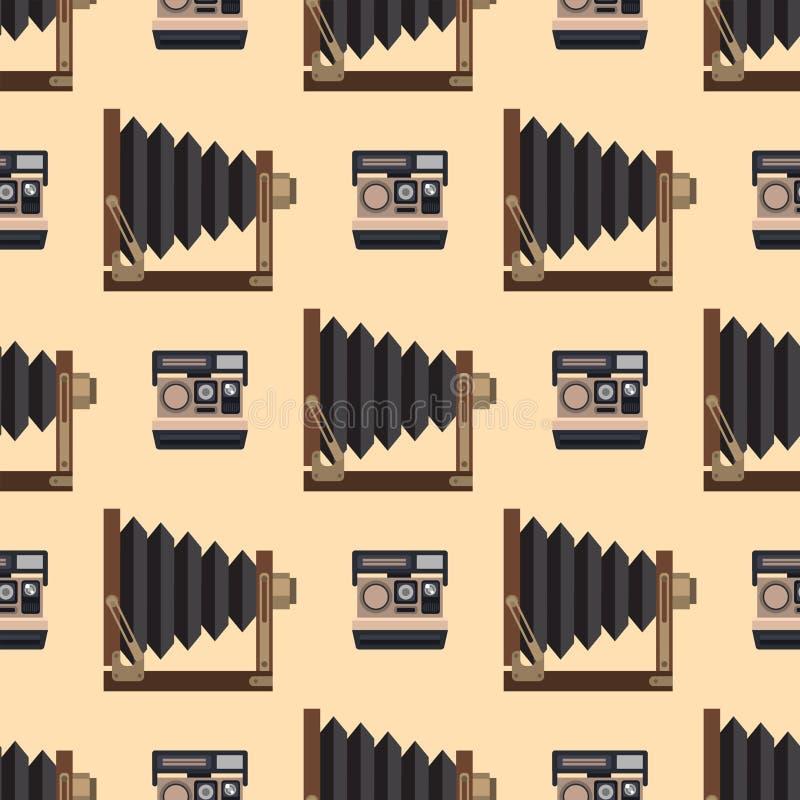 Van het de lenzen naadloze patroon van de camerafoto kijkt de optische beroeps van het de fotografiemateriaal objectieve retro ve royalty-vrije illustratie