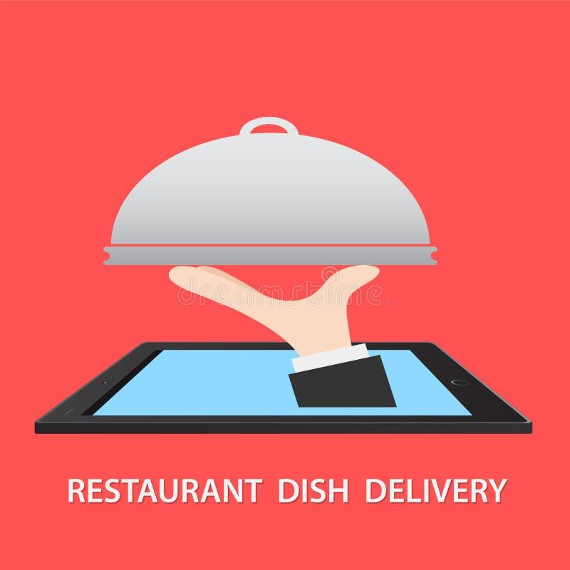Van het de Leveringsconcept van het restaurantvoedsel de Vlakke Vectorillustratie Hand stock illustratie