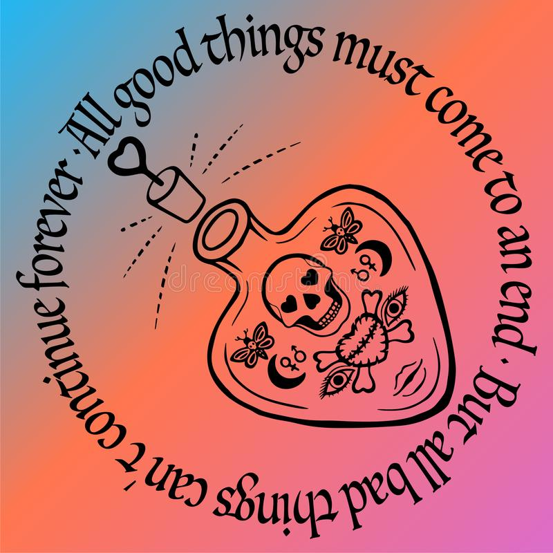 Van het de liefdedrankje of vergift van de overzichtstatoegering flessenvector met schedel en hart esoterische symbolen, Hand get royalty-vrije illustratie