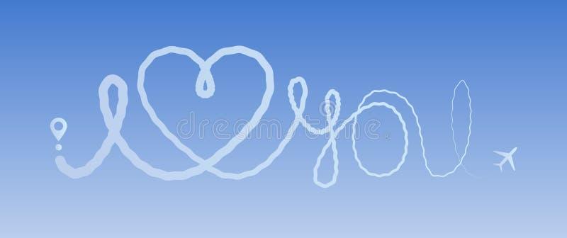 Van het de liefdevliegtuig van de hartreis van de de route houdt de romantische reis van het de lijnspoor van het vliegtuigroutes vector illustratie