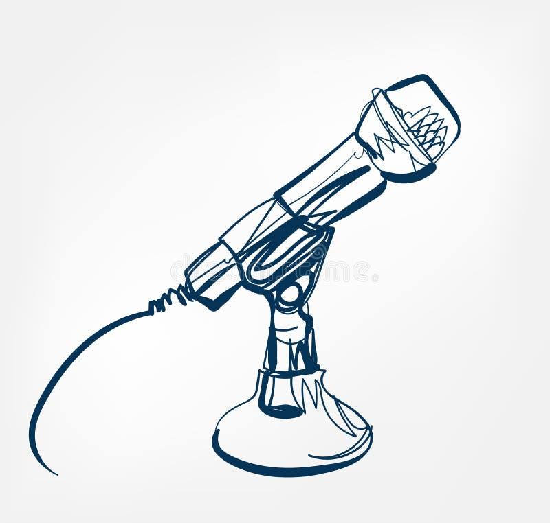 Van het de lijn vectorontwerp van de microfoonschets de muziekradio vector illustratie
