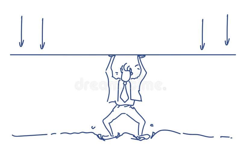 Van het de lijndak van de zakenmanholding het concept van het de pijlsaldo lost van het het silhouet de harde werkende proces van stock illustratie