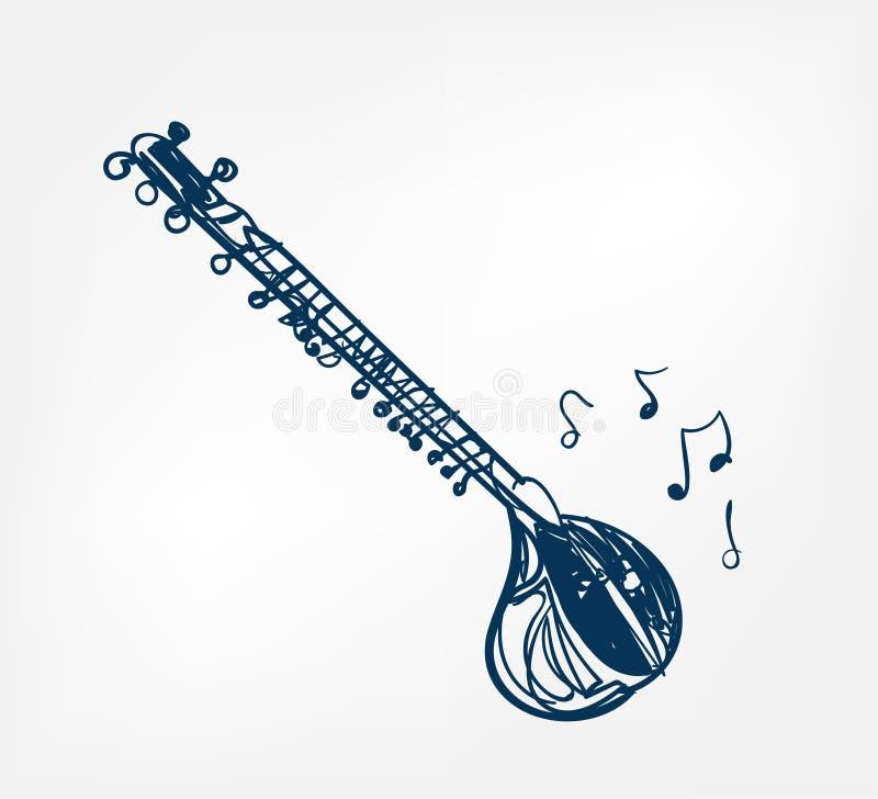 Van het de lijnontwerp van de Sitarschets de muziekinstrument vector illustratie