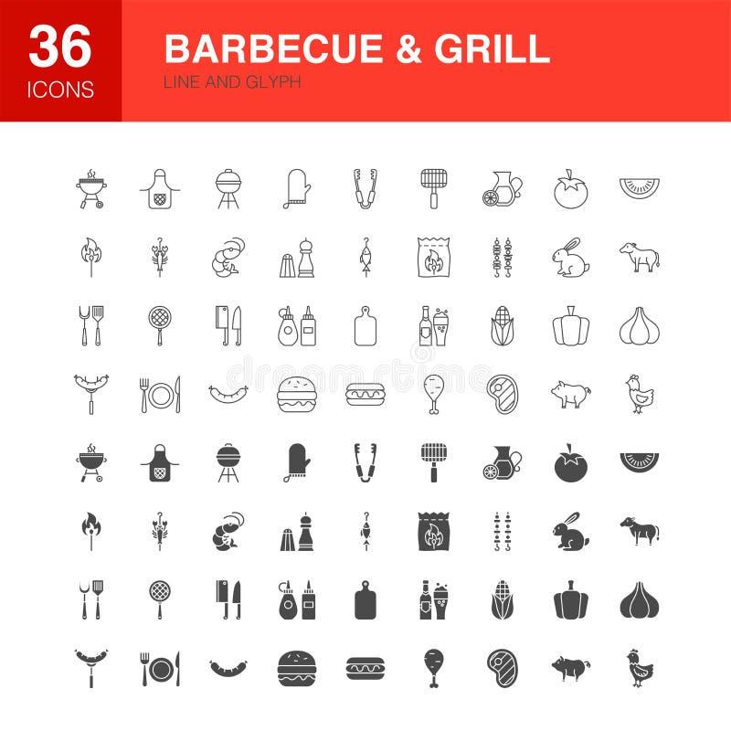Van het de Lijnweb van de barbecuegrill de Pictogrammen van Glyph vector illustratie