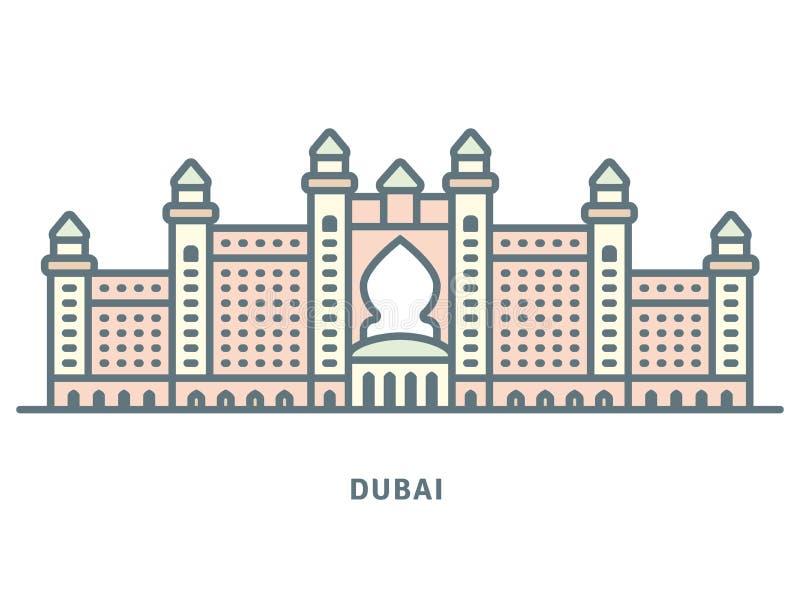 Van het de Luxehotel van Doubai de rooilijnpictogram royalty-vrije illustratie