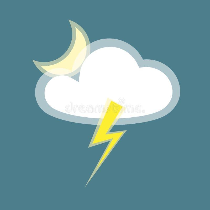 Van het de maanpictogram van de wolkenbliksem het element eenvoudige die app op blauw Pictogram als achtergrond van het regenacht stock illustratie