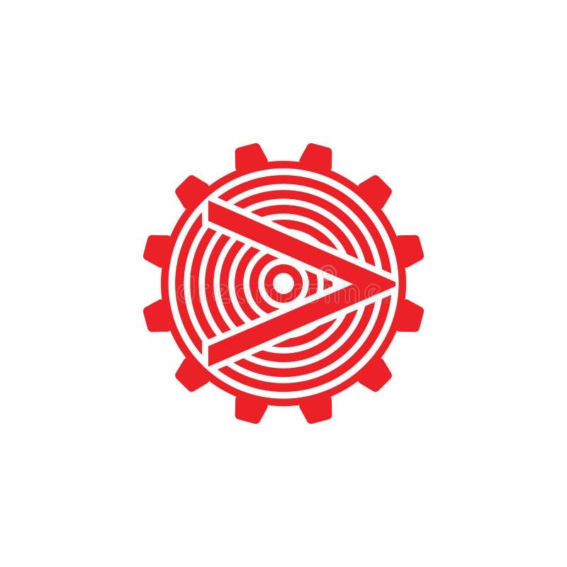 Van het de machinesysteem van het pijlradertje vector van het de cirkelembleem de geometrische royalty-vrije illustratie
