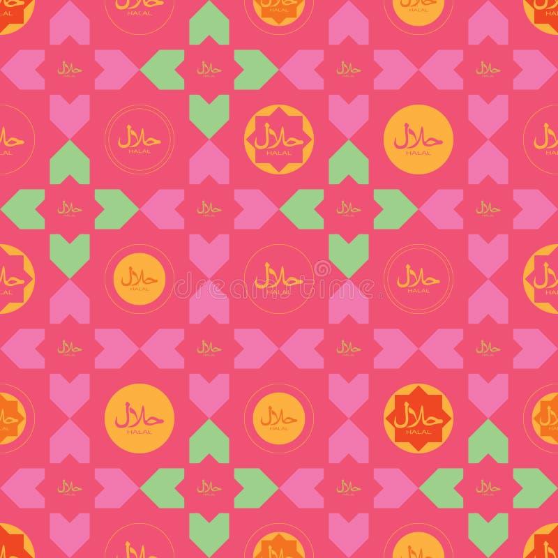 Van het de maniermerk van islamhalal het naadloze patroon royalty-vrije illustratie