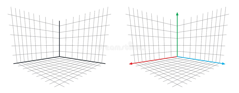 Van het de Matrijsperspectief van de OpenGLprojectie 3d de asvector royalty-vrije illustratie