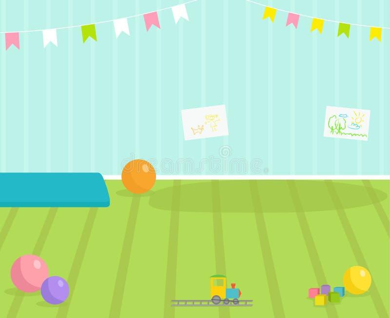Van het de menings babyroom decor van de babyruimte de vector binnenlandse van de de kinderenkleuterschool binnenlandse illustrat royalty-vrije illustratie
