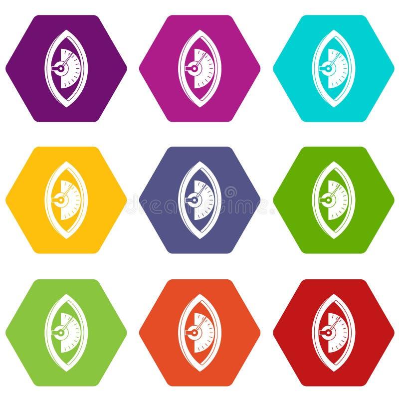 Download Van Het De Meterpictogram Van De Handmacht De Vastgestelde Kleur Hexahedron Vector Illustratie - Illustratie bestaande uit gram, wijzer: 107707950