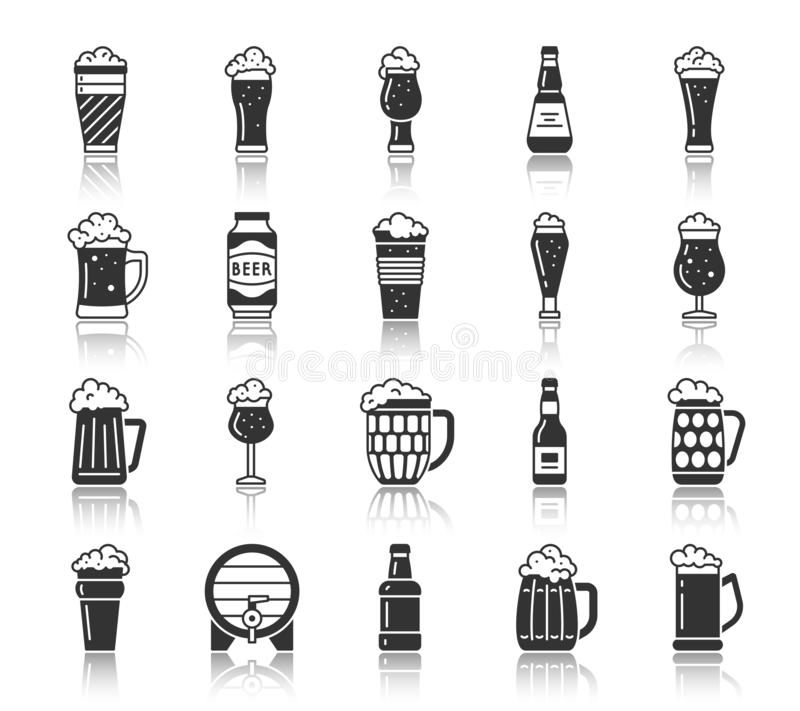 Van het de mok zwarte silhouet van het bierglas de pictogrammen vectorreeks vector illustratie