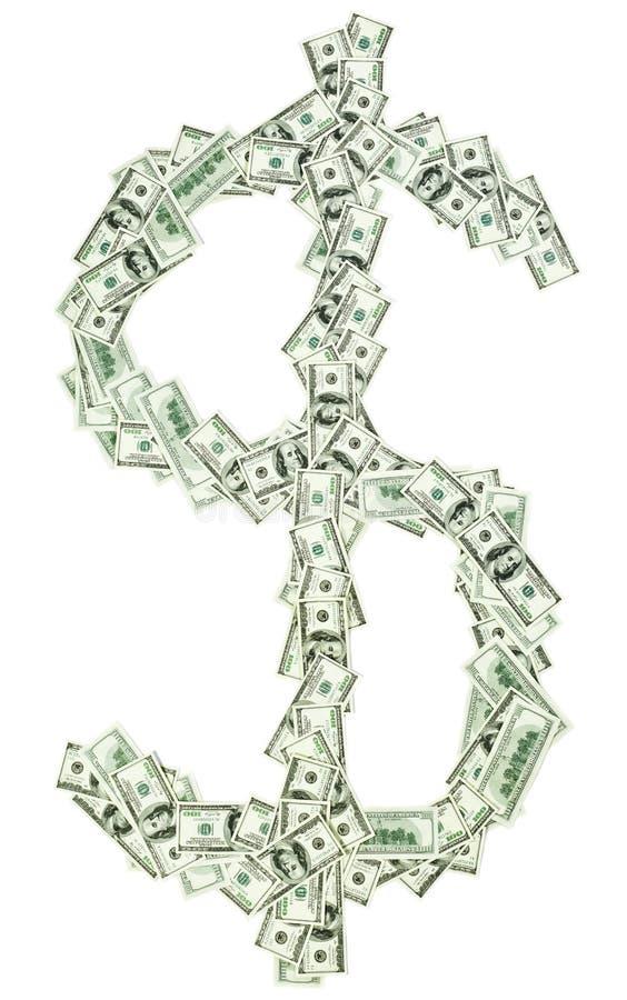 $ Van het de muntteken van de dollar dat met usd bankbiljetten wordt gevormd stock afbeelding