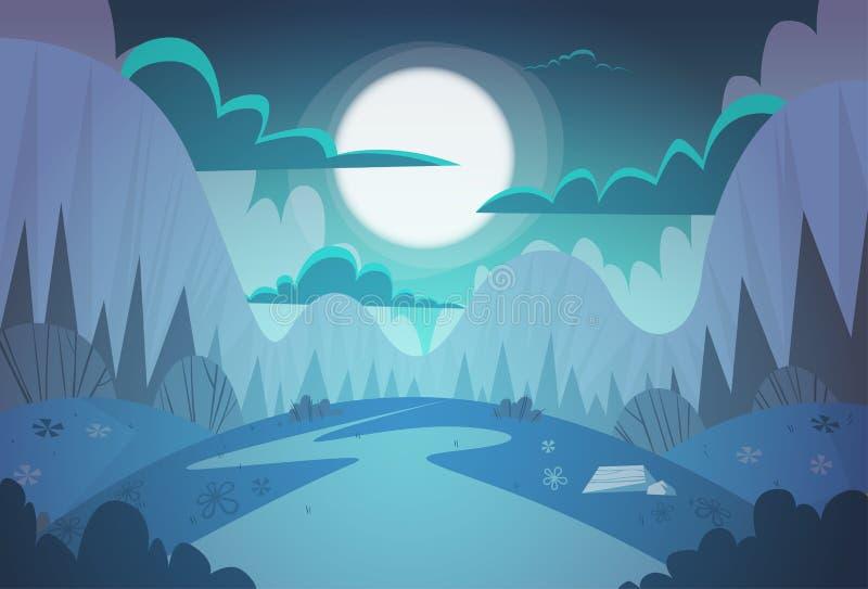 Van het de Nachtlandschap van de bergketenlente de Achtergrond van de de Landwegaard stock illustratie
