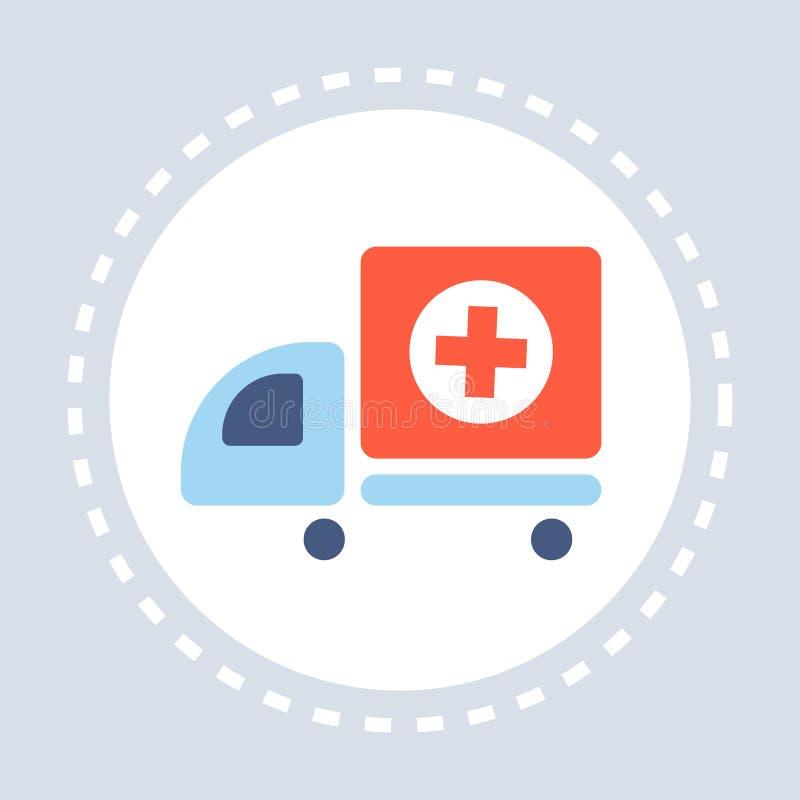 Van het de noodsituatie autopictogram van de ziekenwagenauto van de de gezondheidszorg medische dienst het embleemgeneeskunde en  royalty-vrije illustratie