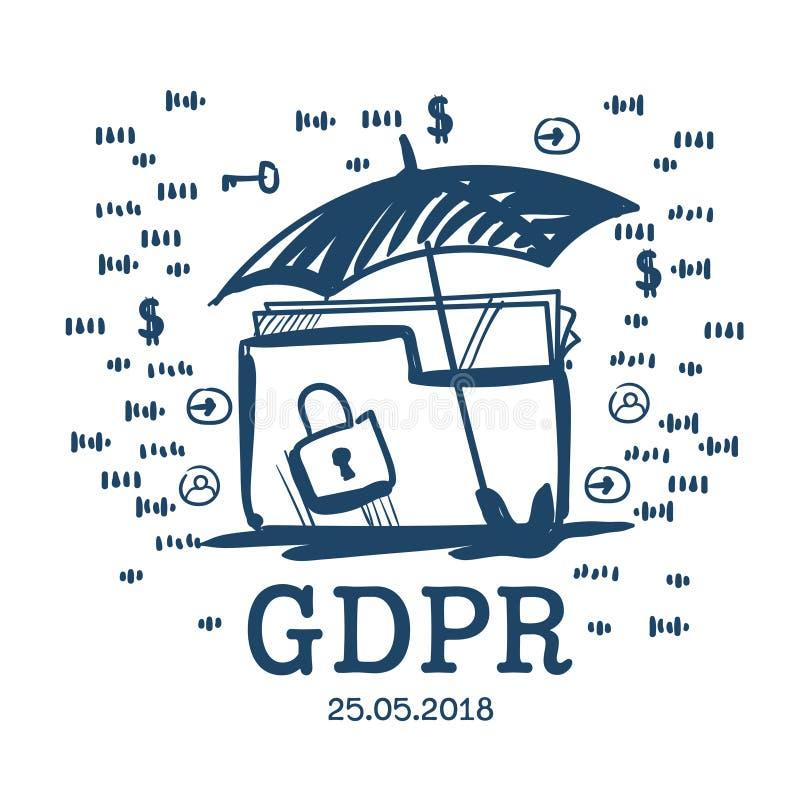 Van het de omslaghangslot van de parapluveiligheid de Gegevensbeschermingverordening GDPR Algemene serverveiligheidsagent over wi stock illustratie