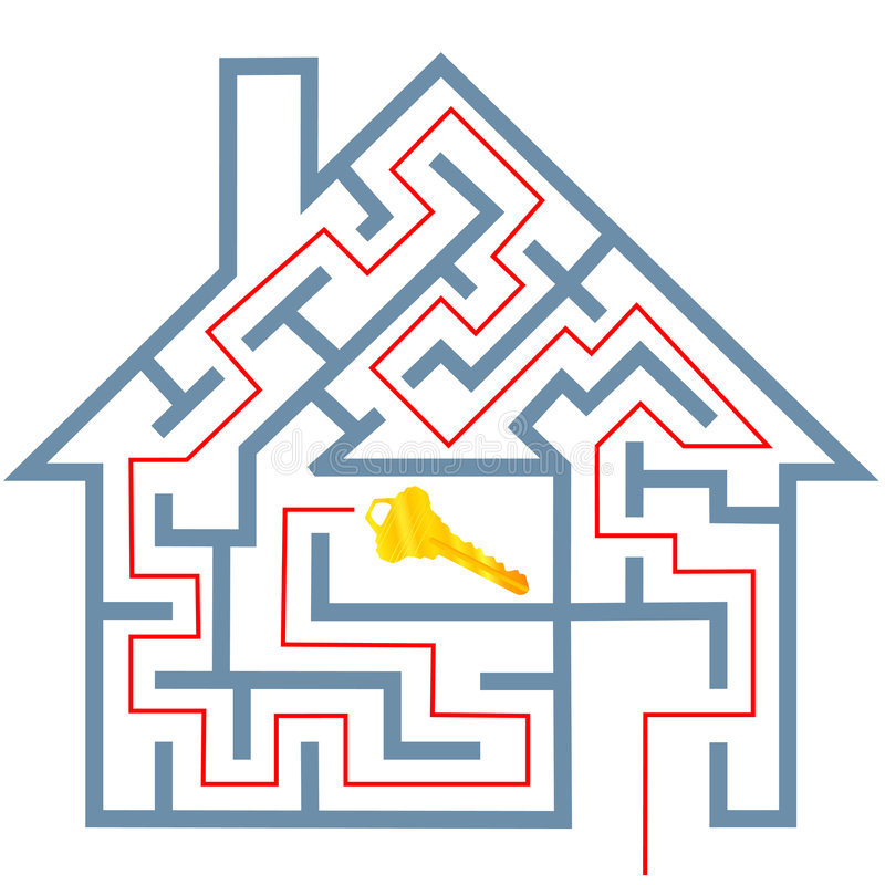 Van het de onroerende goederenhuis van het labyrint het raadseloplossing voor huissleutel vector illustratie