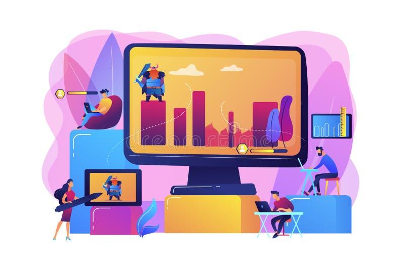 Van het de ontwikkelingsconcept van computerspelen de vectorillustratie vector illustratie