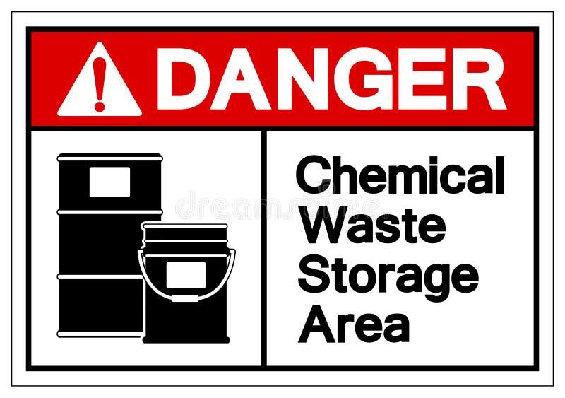 Van het de Opslaggebied van het gevaars isoleert het Chemische Afval het Symboolteken, Vectorillustratie, op Wit Etiket Als achte royalty-vrije illustratie