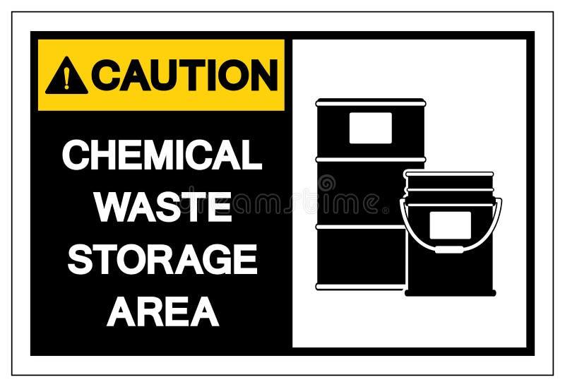 Van het de Opslaggebied van het voorzichtigheids isoleert het Chemische Afval het Symboolteken, Vectorillustratie, op Wit Etiket  royalty-vrije illustratie