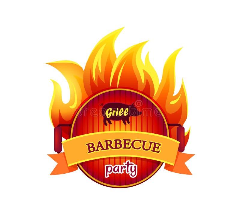 Van het de Partij de Hete Pictogram van de grillbarbecue Vectorillustratie vector illustratie