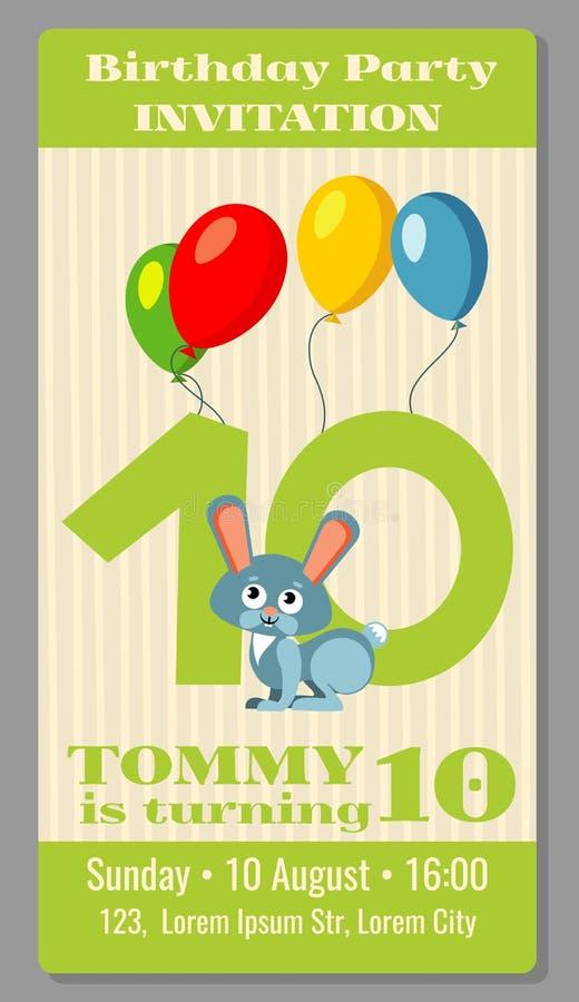 Van het de partijbeeldverhaal van de jonge geitjesverjaardag de dierenuitnodiging royalty-vrije illustratie