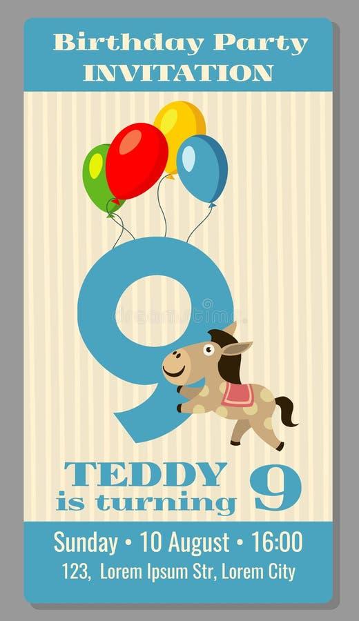 Van het de partijbeeldverhaal van de jonge geitjesverjaardag de dierenuitnodiging vector illustratie