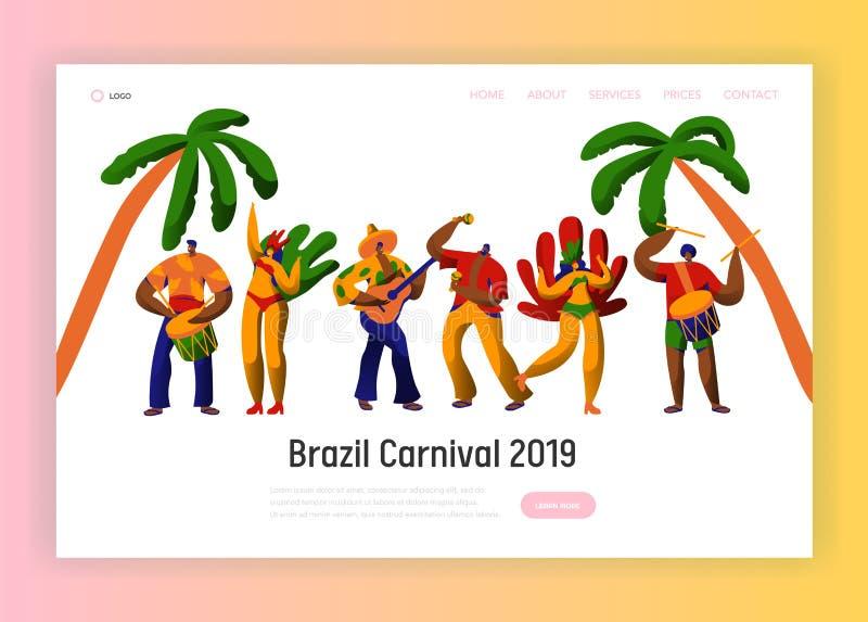 Van het de Partijkarakter van Brazilië Carnaval de Danslandingspagina Man Vrouwendanser bij Braziliaans Etnisch Festival in Exoti royalty-vrije illustratie