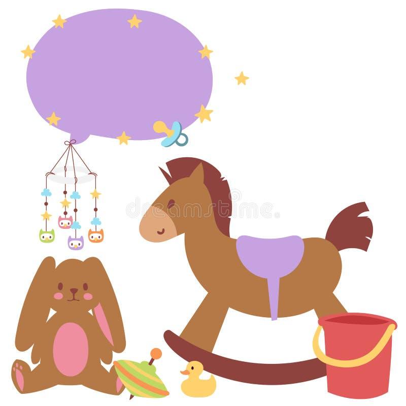 Van het de pictogrammenbeeldverhaal van het babyspeelgoed toyshop van het de familiejonge geitje van het ontwerp rammelt de leuke vector illustratie