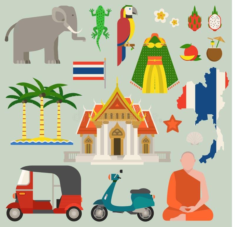 Van het de pictogrammenontwerp van reisthailand de vlakke vectorillustratie Van de cultuurthailand van Bangkok de architectuur va royalty-vrije illustratie