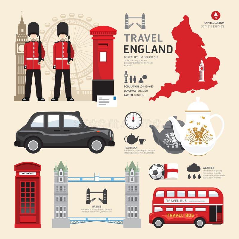 Van het de Pictogrammenontwerp van Londen, het Verenigd Koninkrijk Vlak de Reisconcept vector illustratie