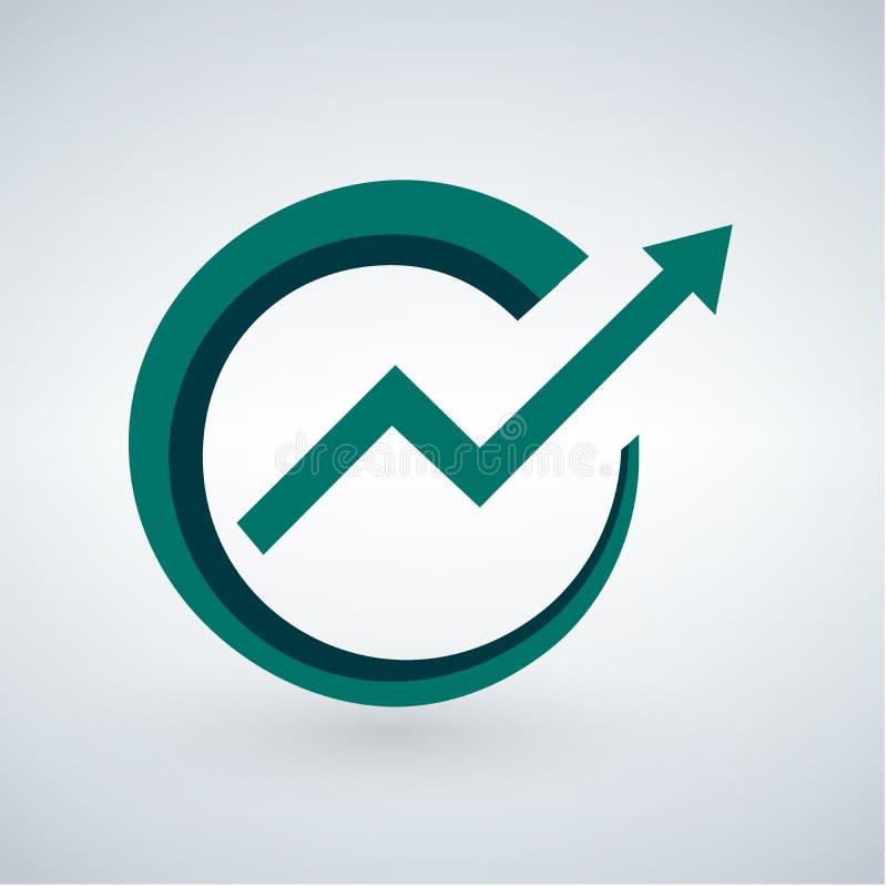Van het de pijlpictogram van de succesrichting groen eenvoudig de elementenembleem Vector illustratie die op witte achtergrond wo stock illustratie