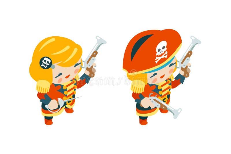 Van het de piraatschip van de vrouwenzeerover obstructie voert de capitan het meisjeszeerover het vrouwelijke van de overzeese is vector illustratie