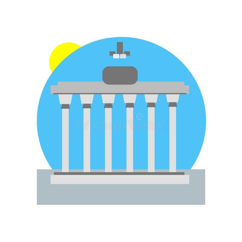 Van het de poortpictogram van Brandenburg het het vectordieteken en symbool op witte B wordt geïsoleerd vector illustratie