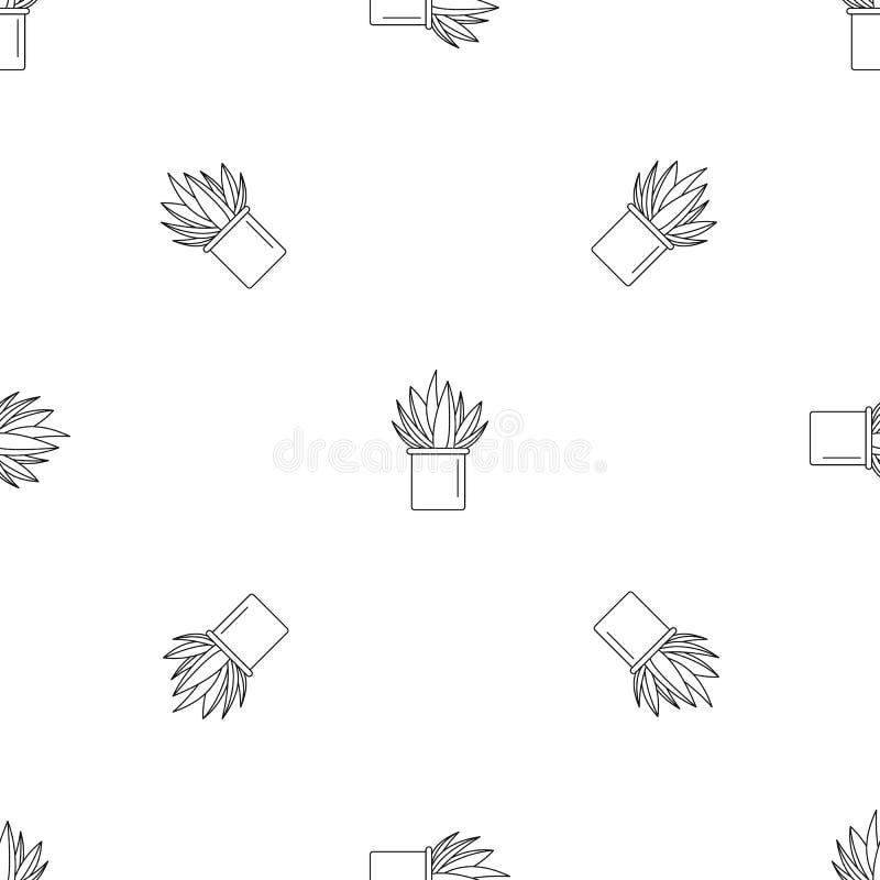 Van het de pottenpatroon van de alo?cactus de naadloze vector stock illustratie