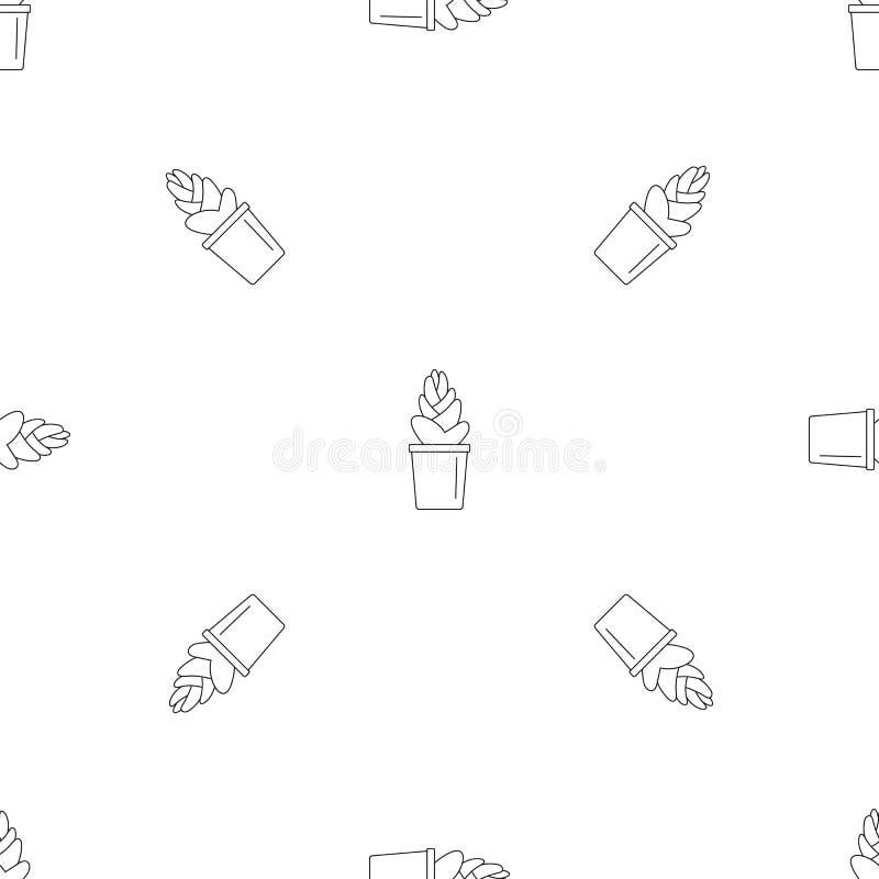 Van het de pottenpatroon van de zandcactus de naadloze vector royalty-vrije illustratie