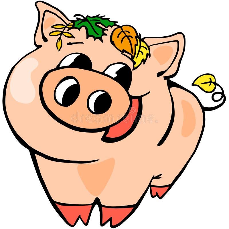 Van het de prentbriefkaar de Nieuwe jaar van het varkensjaar Viering 2019 stock illustratie