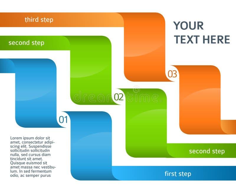 Van het de presentatiemalplaatje van de Infographicslay-out de optiesstap vector illustratie