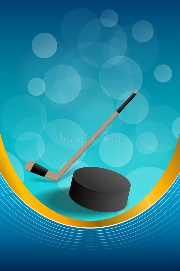 Van het de puckkader van het achtergrond abstracte hockey blauwe ijs verticale gouden het lintillustratie stock illustratie