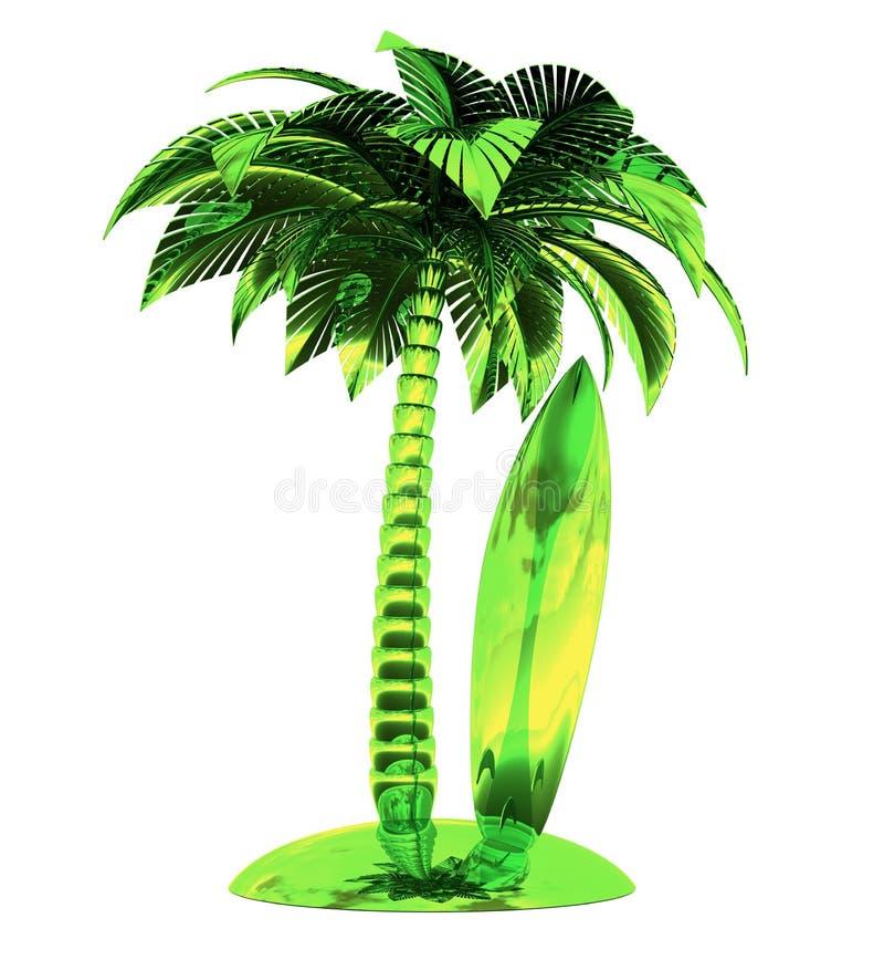 Van het de raadssurfplank gestileerde eiland van de palmbranding tropische groene de installatieaard stock illustratie