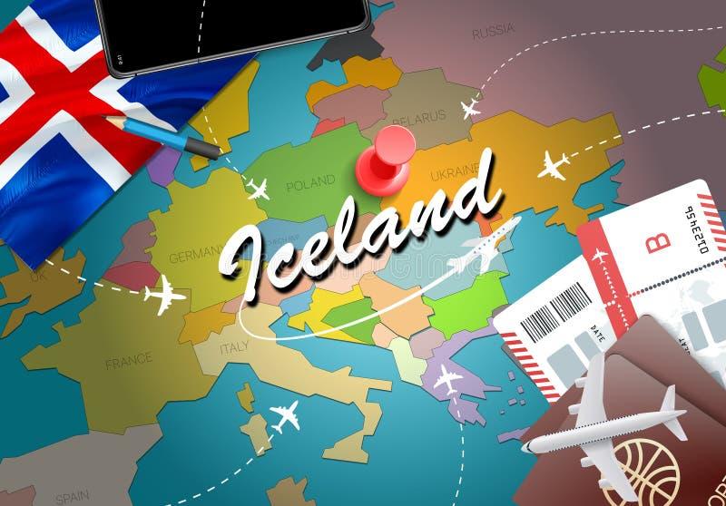 Van het de reisconcept van IJsland de kaartachtergrond met vliegtuigen, kaartjes Visi stock illustratie