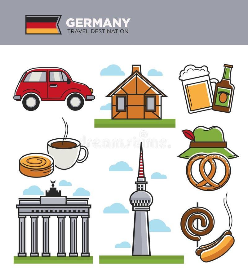 Van het de reistoerisme van Duitsland het oriëntatiepuntsymbolen en de aantrekkelijkhedenvectopictogrammen van de toeristencultuu stock illustratie