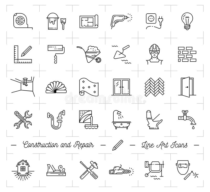 Van het de Reparatiehuis van bouwpictogrammen het Huisvernieuwing De bouw en huishoudenhulpmiddelen De kunstpictogrammen van de r vector illustratie