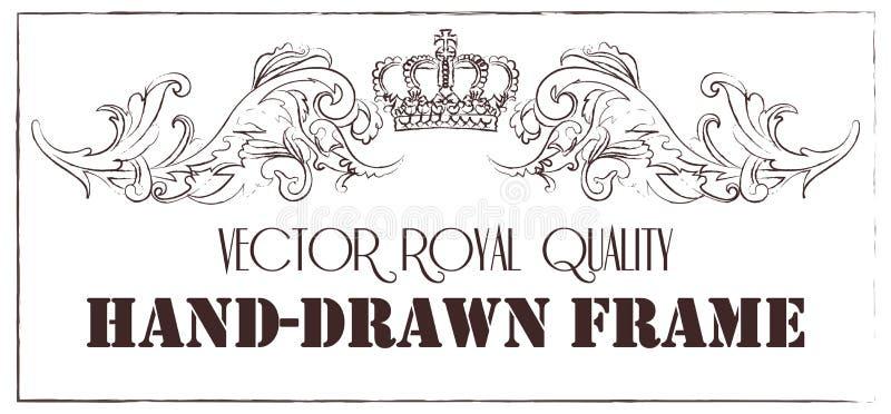 Van het de rolornament van het premie de uitstekende barokke kader van de de gravuregrens van de het patroon antieke stijl bloeme vector illustratie