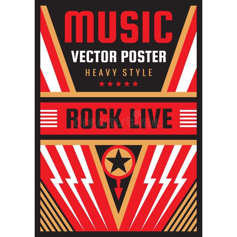 Van het de rotsfestival van het muziekoverleg de affiche vectorillustratie Nationaal verticaal de bannermalplaatje van de patriot stock illustratie